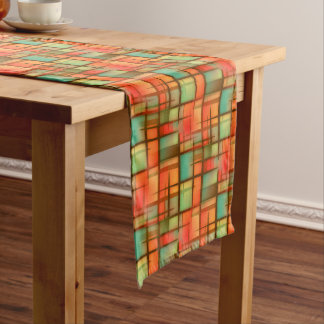 Mid Century Modern Abstract Plaid Blue Green Red Medium Table Runner