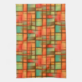 Mid Century Modern Abstract Plaid Blue Green Red Tea Towel