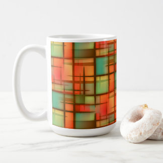 Mid Century Modern Abstract Plaid Red Blue Green Coffee Mug