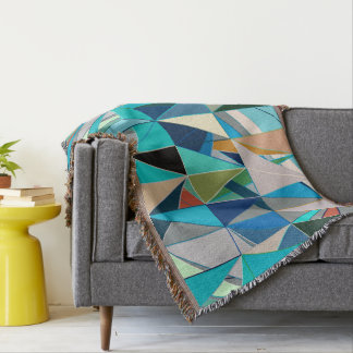 Mid-Century Modern Abstract, Turquoise & Neutrals Throw Blanket