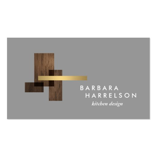 Mid-Century Modern Architectural Logo II on LtGray Business Cards