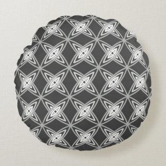 Mid Century Modern Atomic Print - Charcoal Gray Round Cushion