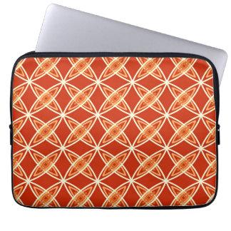 Mid Century Modern Atomic Print - Mandarin Orange Laptop Sleeve