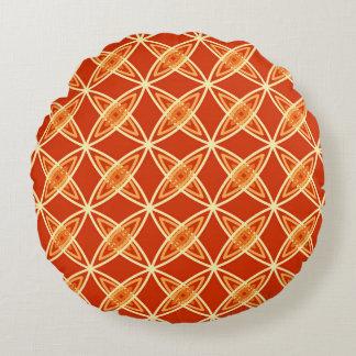 Mid Century Modern Atomic Print - Mandarin Orange Round Cushion