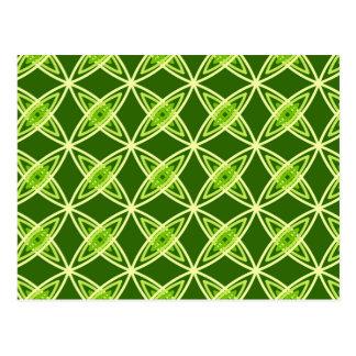 Mid Century Modern Atomic Print - Olive Green Postcard