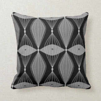 Mid Century Modern Black and Gray Throw Pillow