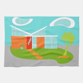Mid Century Modern Cartoon House Kitchen Towel
