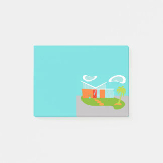 Mid Century Modern Cartoon House Post-It Notes
