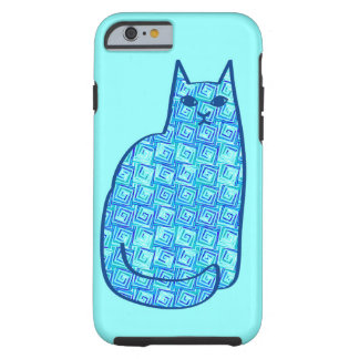 Mid-Century Modern Cat, Aqua and Navy Blue Tough iPhone 6 Case