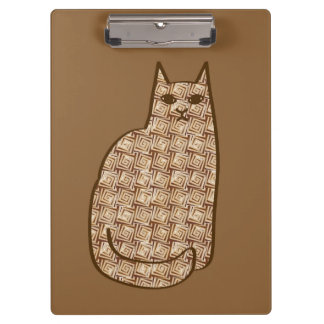 Mid-Century Modern Cat, Beige and Light Brown Clipboard