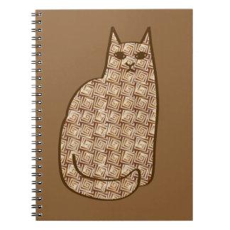 Mid-Century Modern Cat, Beige and Light Brown Notebook