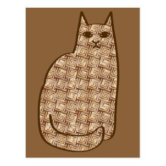 Mid-Century Modern Cat, Beige and Light Brown Postcard
