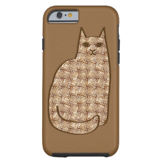 Mid-Century Modern Cat, Beige and Light Brown Tough iPhone 6 Case