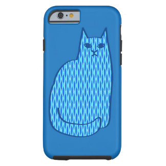 Mid-Century Modern Cat, Cobalt and Light Blue Tough iPhone 6 Case