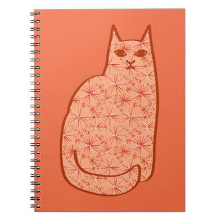 Mid-Century Modern Cat, Coral Orange and White Notebooks