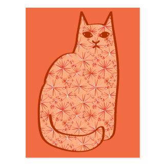 Mid-Century Modern Cat, Coral Orange and White Postcard