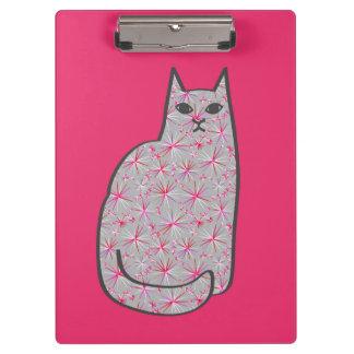 Mid-Century Modern Cat, Fuchsia and Light Pink Clipboard