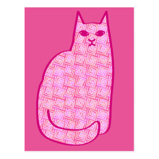 Mid-Century Modern Cat, Fuchsia and Light Pink Postcard