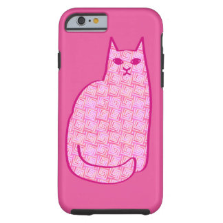 Mid-Century Modern Cat, Fuchsia and Light Pink Tough iPhone 6 Case