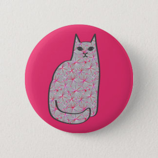 Mid-Century Modern Cat, Gray / Grey and Pink 6 Cm Round Badge