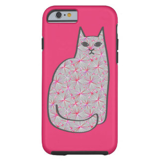 Mid-Century Modern Cat, Gray / Grey and Pink Tough iPhone 6 Case