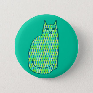 Mid-Century Modern Cat, Mint and Lime Green 6 Cm Round Badge