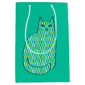 Mid-Century Modern Cat, Mint and Lime Green Medium Gift Bag
