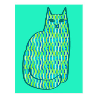 Mid-Century Modern Cat, Mint and Lime Green Postcard