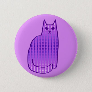 Mid-Century Modern Cat, Orchid and Purple 6 Cm Round Badge