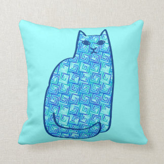 Mid-Century Modern Cat, Turquoise and Navy Cushion