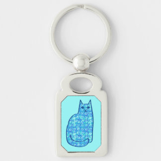 Mid-Century Modern Cat, Turquoise and Navy Key Ring