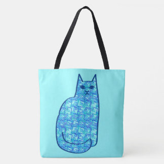 Mid-Century Modern Cat, Turquoise and Navy Tote Bag