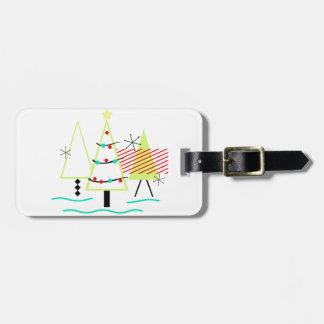 mid century modern christmas trees retro luggage tag