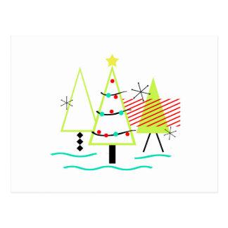 mid century modern christmas trees retro postcard