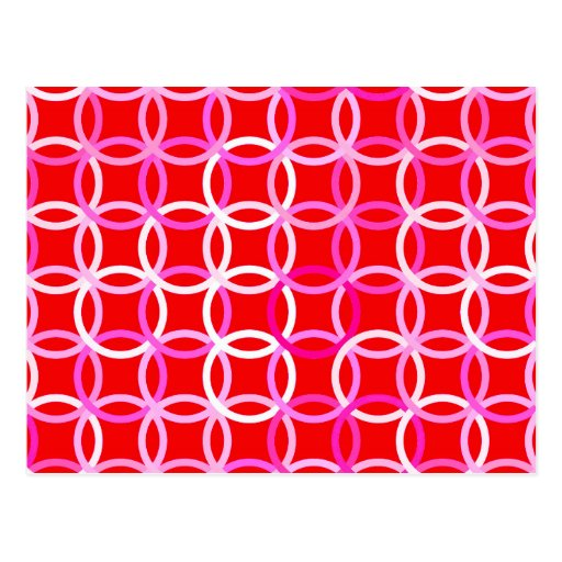 Mid-Century Modern circles, dark red and pink Post Cards