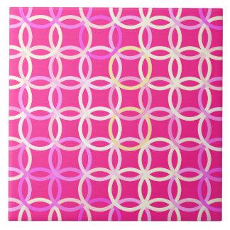 Mid-Century Modern circles, fuchsia pink and cream Ceramic Tile