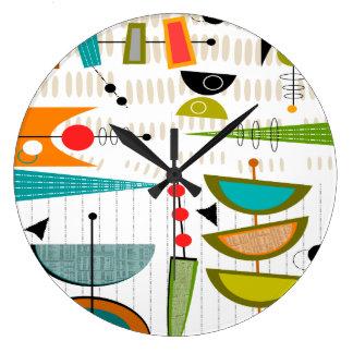 Mid-Century Modern Clock Half Ovals 35