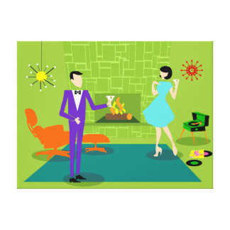 Mid Century Modern Couple Custom Stretched Canvas Canvas Print