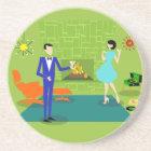 Mid Century Modern Couple Sandstone Coaster