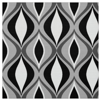 Mid-Century Modern Diamonds, Black, White and Gray Fabric