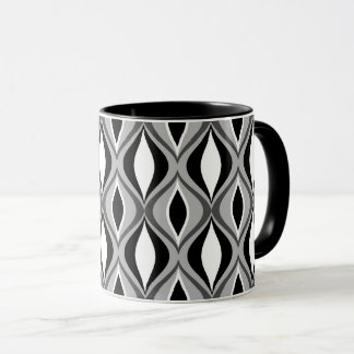 Mid-Century Modern Diamonds, Black, White and Gray Mug