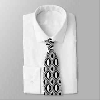 Mid-Century Modern Diamonds, Black, White and Gray Tie