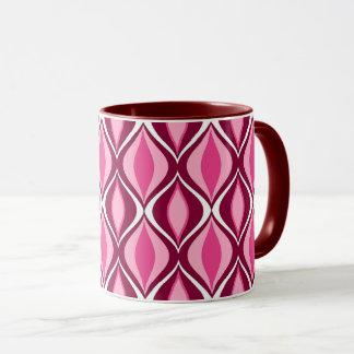 Mid-Century Modern Diamonds, Burgundy & Pink Mug