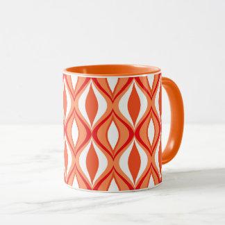Mid-Century Modern Diamonds, Orange & White Mug
