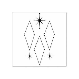 Mid Century Modern Diamonds Starburst Illustration Rubber Stamp