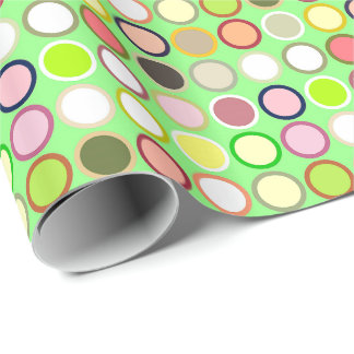 Mid-Century Modern Dots - lime with multi Wrapping Paper