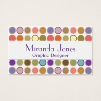 Mid-Century Modern Dots - white with multi colors Business Card