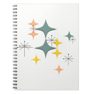 Mid Century Modern Eames Atomic Starbursts Custom Spiral Notebook