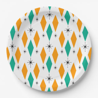 Mid Century Modern Era Diamonds Orange Turquoise Paper Plate