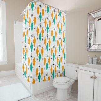Mid Century Modern Era Diamonds Orange Turquoise Shower Curtain